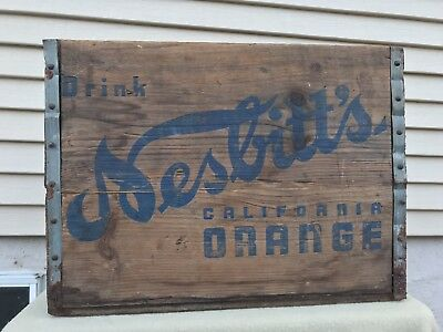 Vintage Nesbitt Nesbitts California Orange Soda Wood Advertising Box Crate