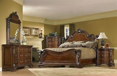 Old World 6pc King Traditional European Style Bedroom Furniture Set Media Chest