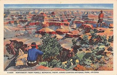 C070 Grand Canyon NW from Powell Memorial Point Indians AZ Fred Harvey '34 Linen