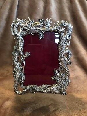 Pewter Silver dragon picture frame