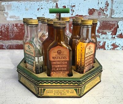 Rare VINTAGE 40s Watkins Glass Bottle ADVERTISING Display Stand Full TIN GLASS