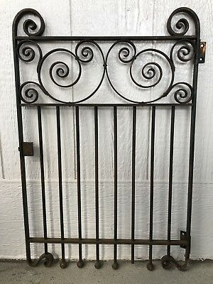 Antique Vintage Metal Steel Gate Fence With Hinges And Lock No Key