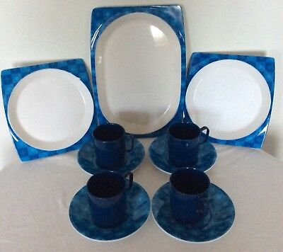 Retro Bessemer Blue Tea Set With Matching Serving Plates Never Used