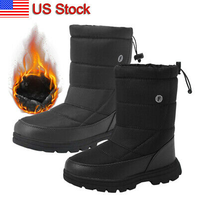 Men's Winter Snow Boots Warm Lined Hiking Work Shoes High Top For Cold Weather