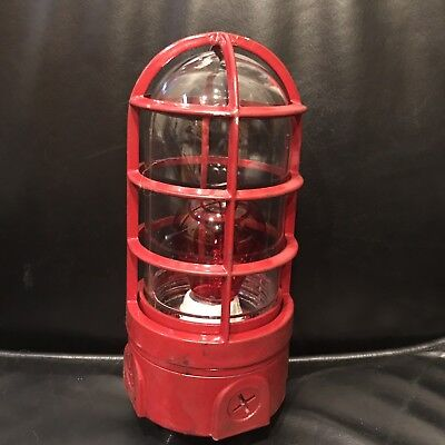 Vintage Gamewell Fire Alarm Street Box Pull Station Red Caged Light