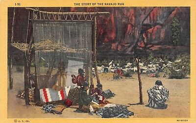 C082 The Story of the Navajo Rug - 1934 Linen Postcard Teich No. 4A-H1126