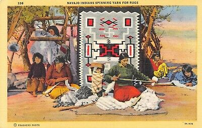 C083 Navajo Indians Spinning Yarn for Rugs c. Frashers Photo 1933 Linen PC Teich