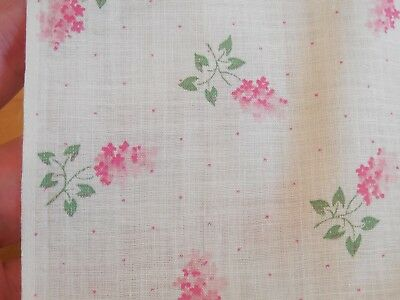 """Vintage 1930s 40s Cotton Fabric, Sweetest Semi Sheer Floral, 37""""W x 2.5 Yds, #1"""