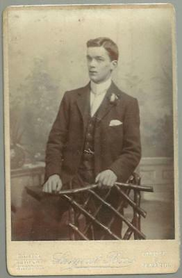 Lot of Four Antique Cabinet Card Photographs of Men From Cardiff Wales England