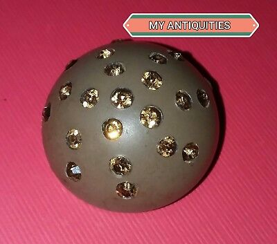 Button Antique ,large,rhinestones,made Of Hard Rubber, Unique ,hard To Find.