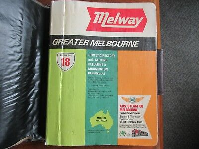 Melway Street Directory Melbourne. 1988 Edition  Number 18.Good condition.