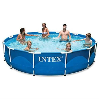 Intex 10ft Metal Steel Frame Pool Set Above Ground Swimming With Pump