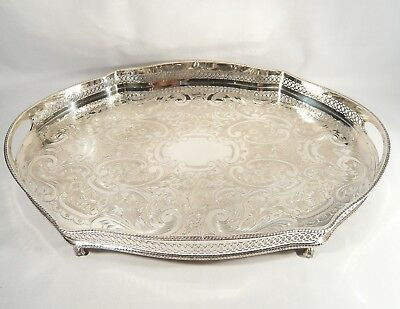 """20""""  Silver Plate Pierced GALLERY TRAY Bird Claw & Ball Footed  Quality Copper"""