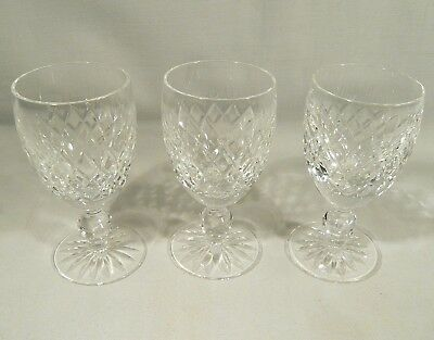 """3 Signed  WATERFORD Crystal """" BOYNE """"  4 1/2"""" WINE Sherry Cut Footed Glasses"""