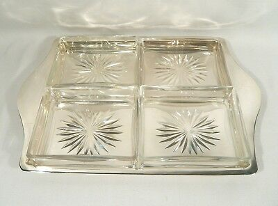 Antique Maxfield & Sons Silver plate & Glass Condiment TRAY Serving Dish Vanity