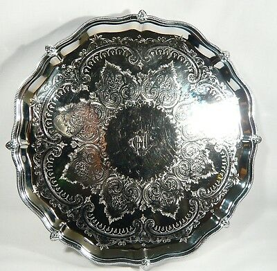"""Antique SILVER Plate Claw Paw Footed SALVER 12""""  ROUND TRAY Celtic Pattern"""