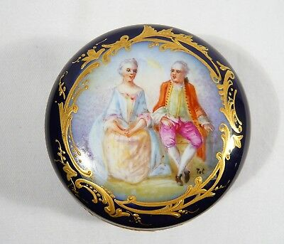 Signed SEVRES Porcelain  Lidded DRESSER JAR Couples Gold Encrusted Cobalt Blue