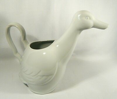 NORITAKE STONEWARE  Duck Goose PITCHER Centennial White Bird JUG Watering Can