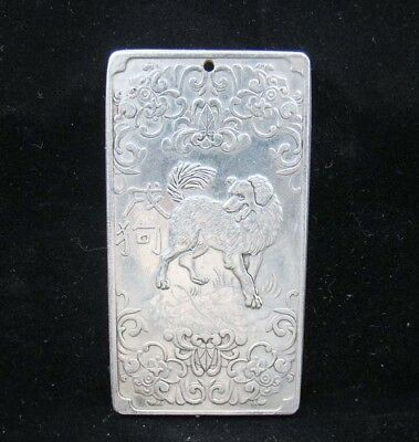 Collectable Handmade Carved Statue Tibet Silver Amulet Pendant Zodiac Dog