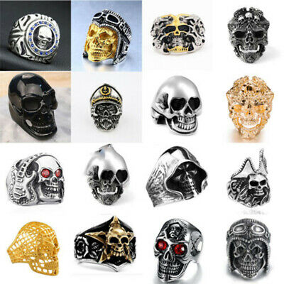 Fashion Cool Men's ALLOY Gothic Punk Skull Head Boy Biker Finger Ring Jewelry