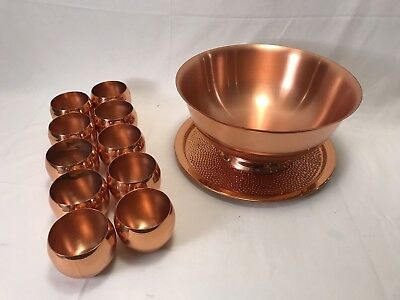 Coppercraft Guild Drink Serving Bowl, Platter, and 10 Roly Poly Cups