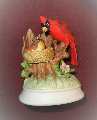 Vintage Cardinal (with baby) Music Box by Gorham plays Do-Re-Mi