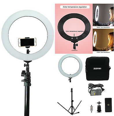 "14"" LED Ring Light 50W 5500K Dimmable Continuous Lighting Photo Video Stand Kit"