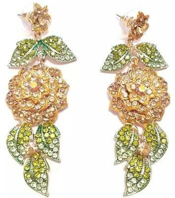 Exquisite Rose Garden Flower Glass Crystal Rhinestone Wedding Statement Earrings