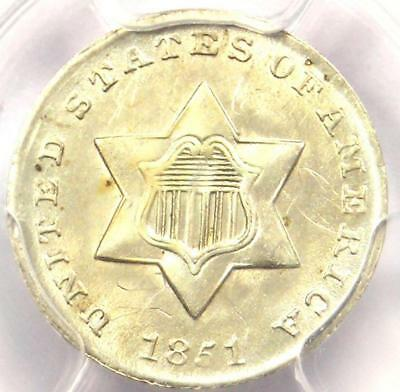 1851 Three Cent Silver Piece 3CS - PCGS Uncirculated Detail (MS UNC) - Rare Coin