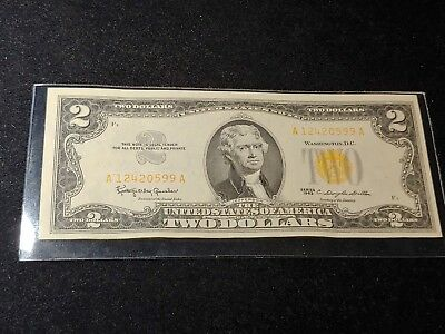 1963 $2 DOLLAR BILL  US NOTE LEGAL TENDER PAPER MONEY Light red/yellow SEAL