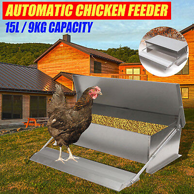 20LBS Auto Automatic Chicken Feeder Galvanized Poultry Chook Treadle Self Coop