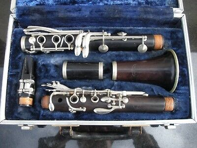 Vintage Pierre Maure Wood Clarinet Serial *H19515 Made In France With Hard Case