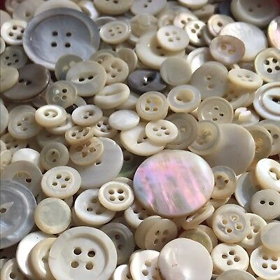 400+pc Mother of Pearl MOP VINTAGE Shell ANTIQUE BUTTON LOT ~ALL VGC No Threads!