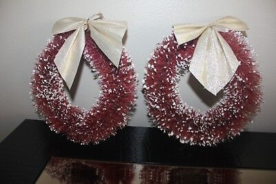 """Pair Vintage Bottle Brush   6"""" Christmas Wreaths With Bows  Good Condition"""