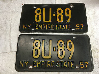 1957 New York license plate set (front-rear) pair