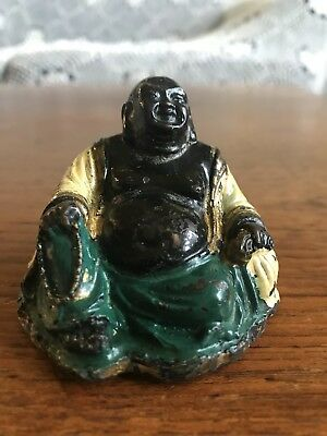 Vintage Laughing Happy Reclining Buddha Carved Figurine Miniature Ornament