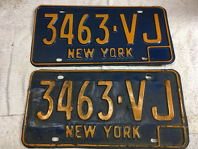 1966 New York license plate set (front-rear) pair