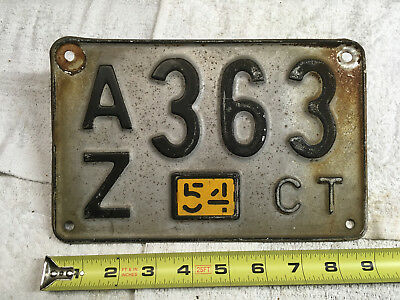 1954 Connecticut license plate w/tab