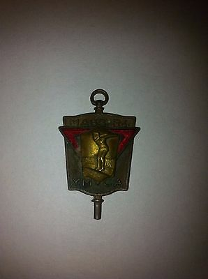 YMCA 1930's or 40's Gold / Copper Enameled Swimming Medal FOB Key Mass RI