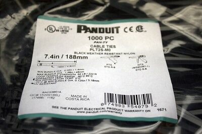 Panduit PLT2S-MO 1000pc Bag Cable Ties- BLACK WEATHER RESISTANT NYLON