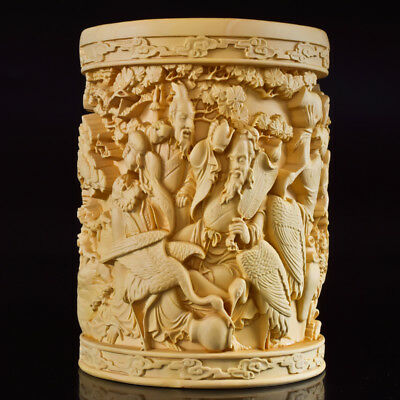 Chinese Boxwood Hand Carved The Eight Immortals Exquisite Brush Pot RB001+c