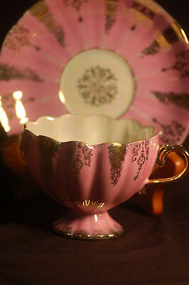 Shafford Iridescent Pink Gold Cup and Saucer