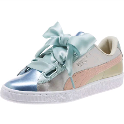11ffbb1d087a00 PUMA BASKET HEART Bauble Silver Shoes 364809 Low Top Sneakers NEW WOMENS  SIZE 8 -  35.00