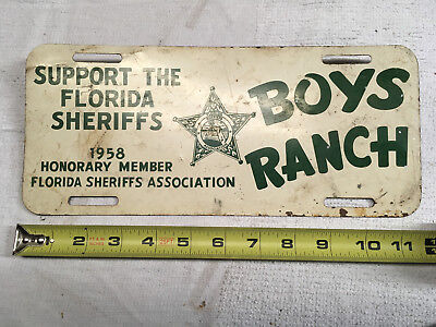 1958 Florida license plate SUPPORT SHERIFFS BOYS RANCH
