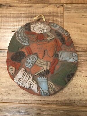Mexican Aztec Mayan Terracotta Pottery Warrior Wall Hanging