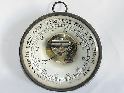 10E3 Antique Barometer Aneroid Wall Opticians Condescended Frères A Pau Early