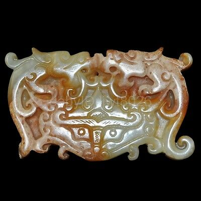 Natural jade of ancient Chinese culture wealth longevity pendant ~ dragon