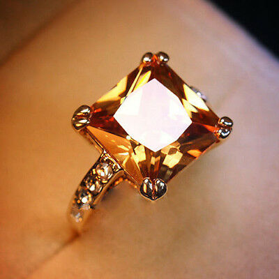 18K Yellow Gold Filled 1.5ct Diamond Champagne Cocktail Cluster Ring Size 8