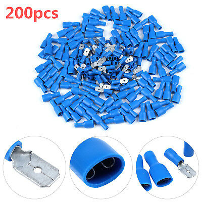 200 Pc/100 Pair 6.3MM INSULATED MALE&FEMALE ELECTRICAL SPADE CONNECTOR TERMINALS