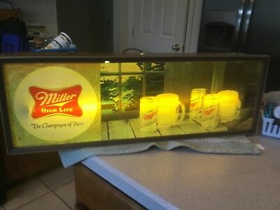 Miller High Life Beer Light Sign Vintage EX Working